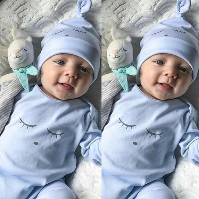 New Baby Boy Clothes Outfit Long Sleeve Romper Jumpsuit Bodysuit Playsuit Blue Eye Cartoon Baby Suits