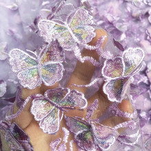 Black light purple blue butterfly Chiffon Fabric Cloth Wedding dress evening Clothing fabric Embroidered