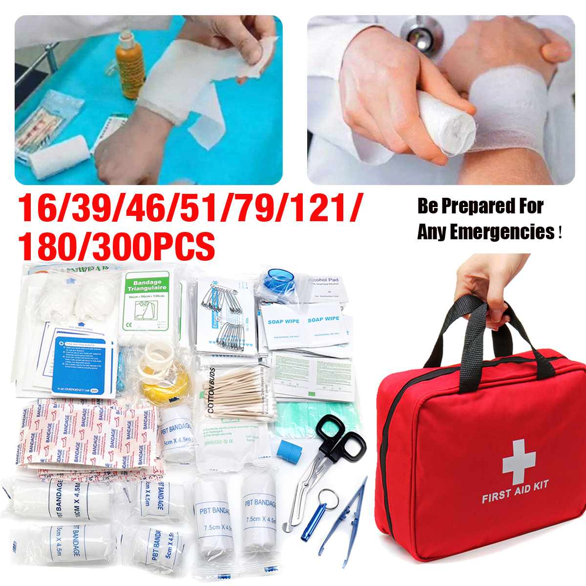 First Aid Kit Hot Sale 16-300Pcs Emergency Survival Kit Mini Family First Aid Kit Sport Travel Kit Home Medical Bag Outdoor Car