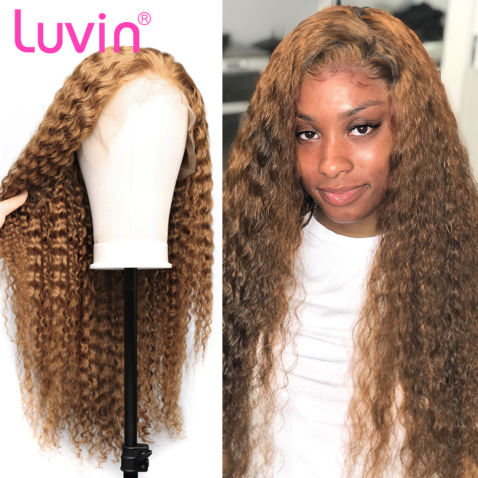 Luvin #27 Ginger Honey Blonde Wig 13x6 Glueless Curly Lace Front Human Hair Wigs Black Women Brazilian Frontal Wig Plucked