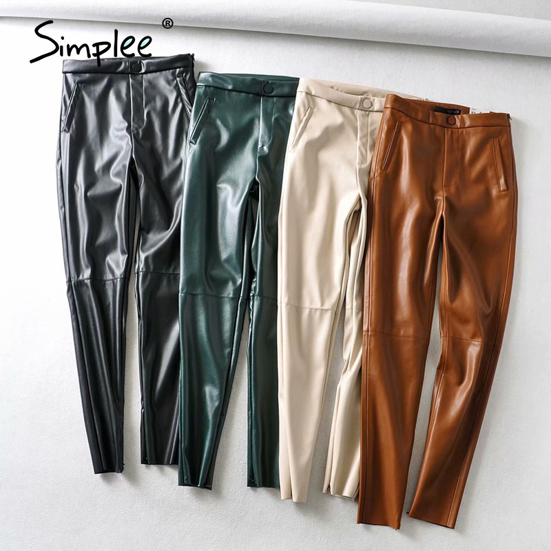 Simplee Solid Pu Leather Fashion Pencil Pants Women Zipper Pockets Casual Lady Long Trouser Plat Skinny Bottoms Punk Female Pant