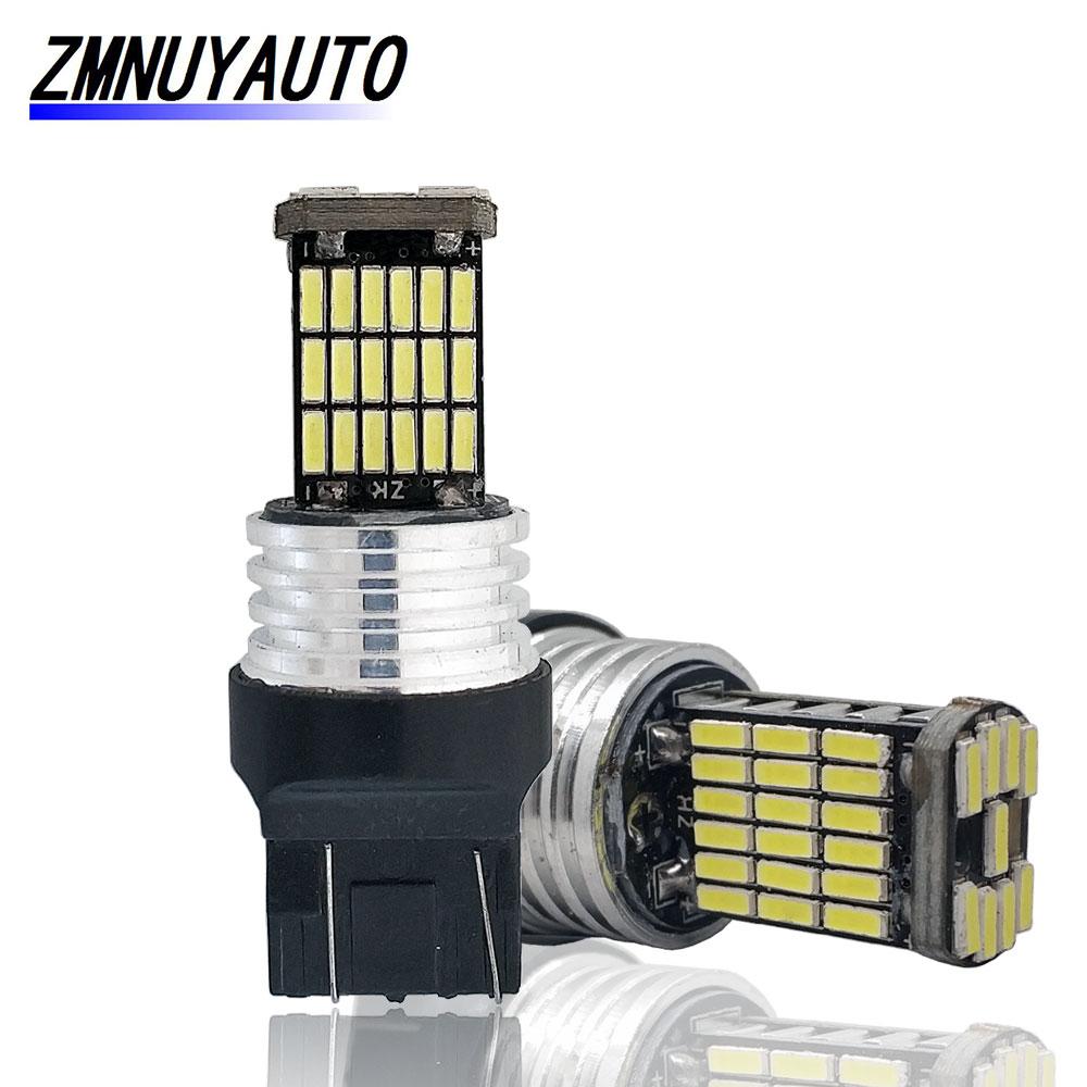 СВЕТОДИОДНЫЙ Автомобильный стоп-сигнал, 2 шт., T20 7440 7443, W21/5 Вт W21W, светодиодный 45SMD 4014, лампа заднего хода, белый, красный, желтый