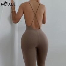 FQLWL Summer Streetwear Backless Black Bodycon Jumpsuit Women Spaghetti Strap Sleeveless One Piece Outfit Fitness Jumpsuit 2021