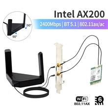 2400 mb/s dla Intel AX200 Wifi 6 karta bezprzewodowa Bluetooth 5.1 zestaw biurkowy M.2 AX200NGW karta sieciowa Wlan 802.11ax Adapter MU-MIMO