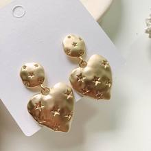 Fashion Star Paved Heart Drop Earrings 2019 New Statement Women Jewelry Pendientes Gold-Color gold color with star hotpink butterfly star drop earrings