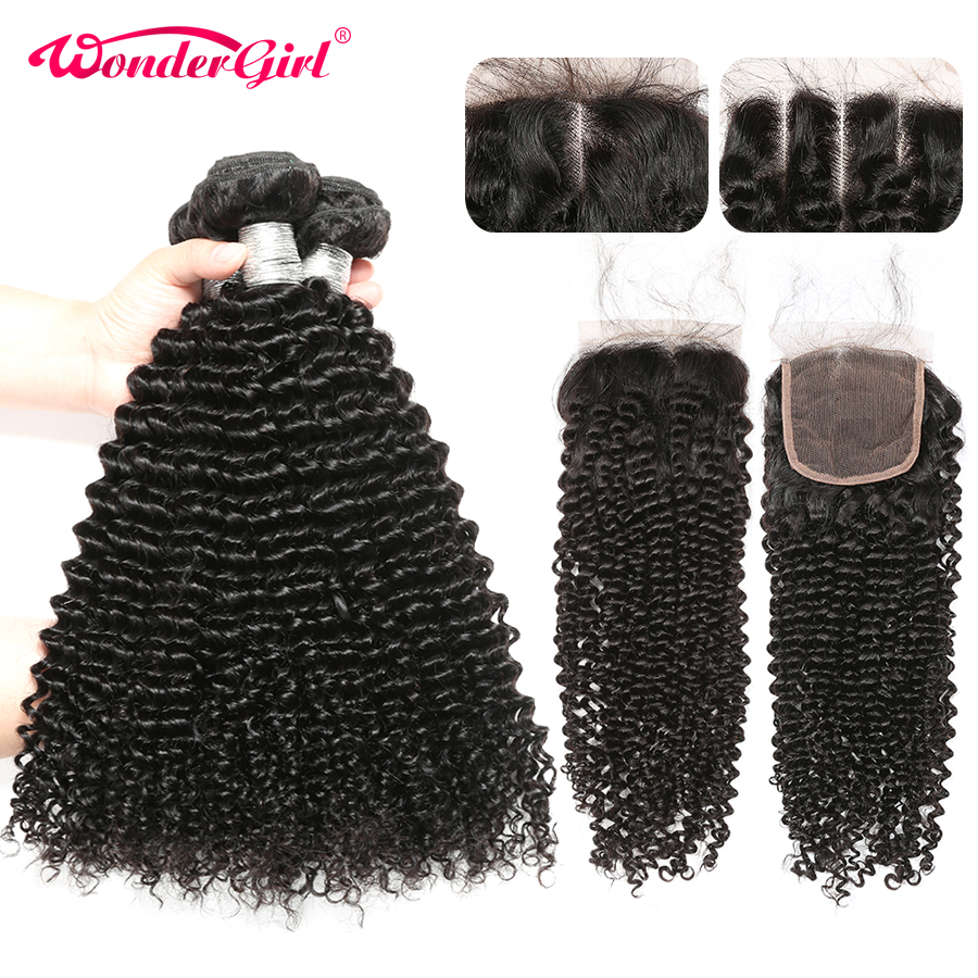 Brazilian Afro Kinky Curly Bundles With Closure 100% Human Hair Bundles With Closure Remy Hair Extension Wonder Girl