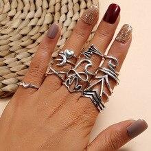 Modyle 13 unids/set Boho conjunto de anillos de dedo para mujeres Punk Luna corazón hueco plata nudillos anillos joyería regalo