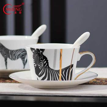 Porcelain Zebra Cup and Saucer Bone China Coffee Cup Set Collectible Drink Tea Ware Personalized Gift For Boyfriend Boss Father фото