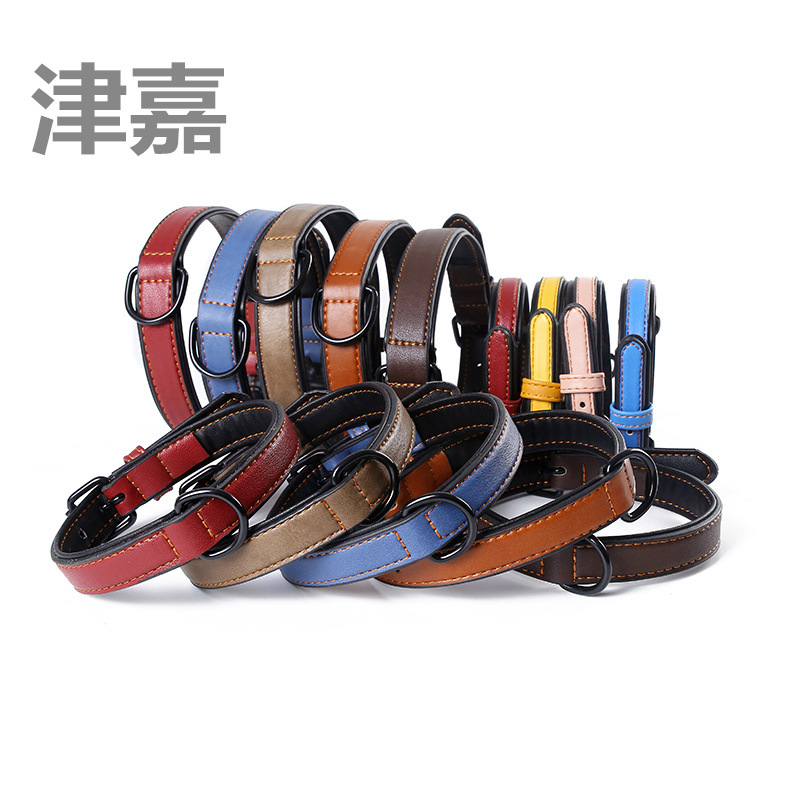 Tianjin Jia Hot Selling Contrast Color Genuine Leather Pet Collar Pu Neck Ring Dog Hide Substance Hand Holding Rope Dog