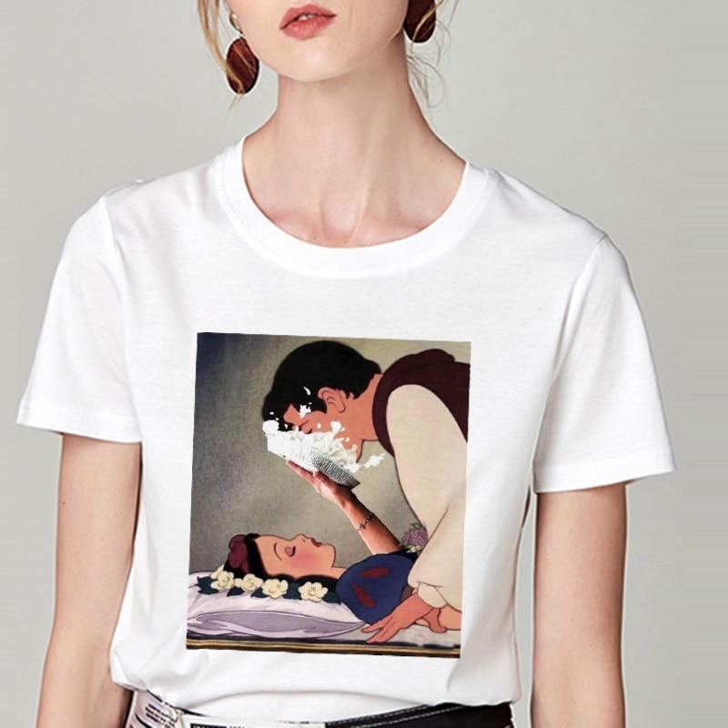 Summer Tshirt Snow White Fun Fashion Printed T-shirt Spoof Personality Harajuku Funny Casual Thin Section T Shirt Women Clothing