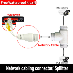 POE Splitter 2-in-1 network cabling connector three-way RJ45 connector head for security camera install(China)