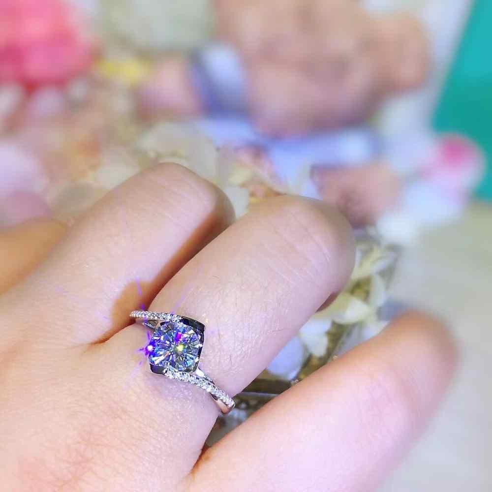 925 כסף 6.5mm 1 קרט D צבע Moissanite טבעת מבריק לחתוך Moissanite אירוסין תכשיטי חתונת נשים
