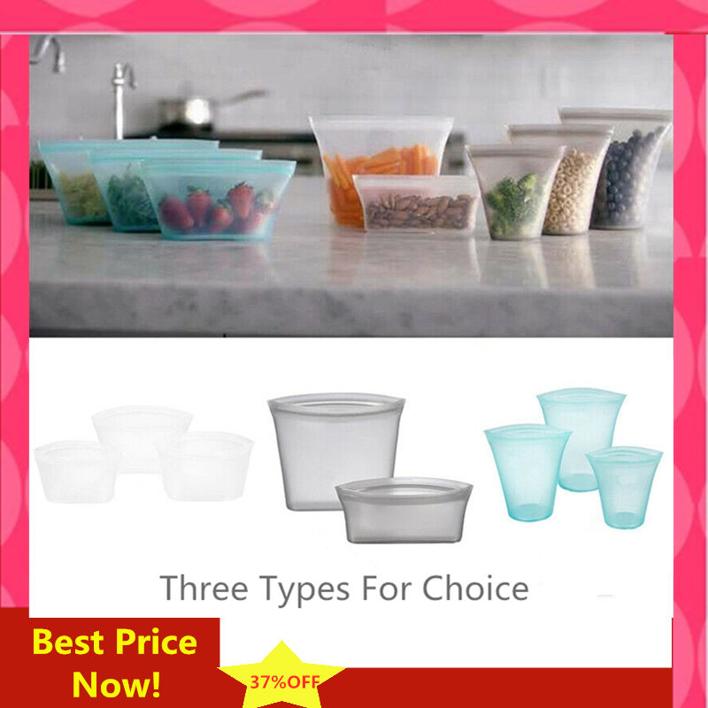 2PCS 3PCS/Set Kitchen Storage Reusable Silicone Zip Lock Leakproof Containers Original Silicone Food Storage Bowls Cups Bags Set
