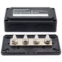 Melhor dc 48v 300a 4 terminais studs busbar bloco de distribuição de energia para barco de carro (preto)