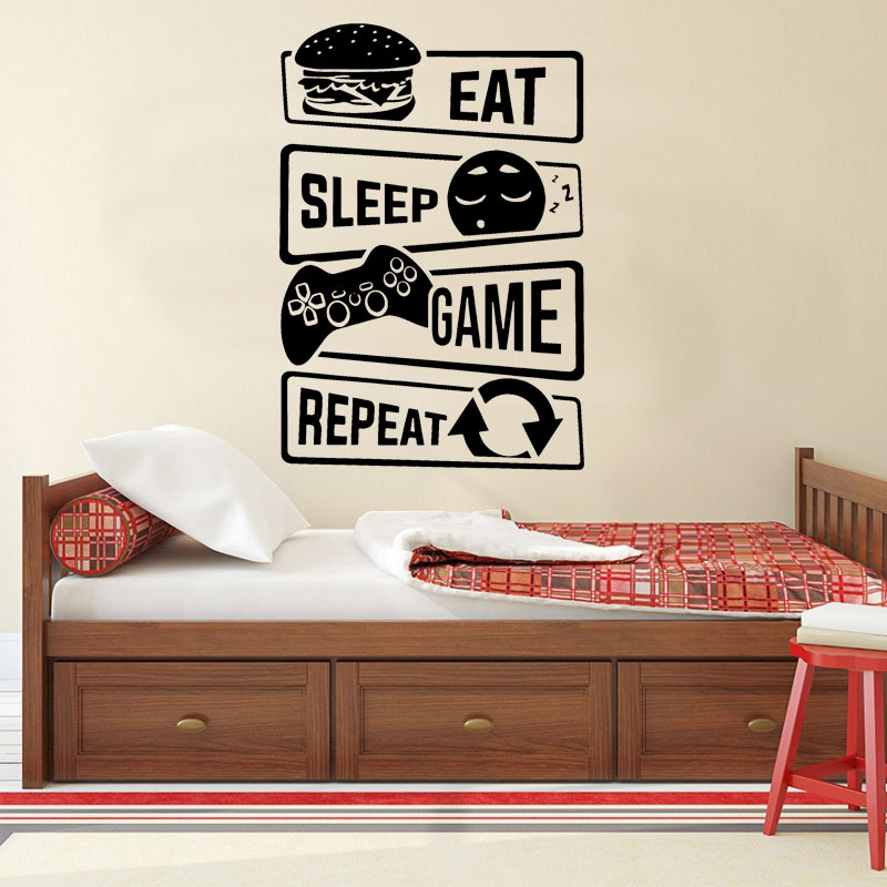 Wall Decals Stickers for Boy Bedoom Gamer Never Sleep Vinyl Sticker Peel and Stick Boys Room Wall Decor Gift for Gamer