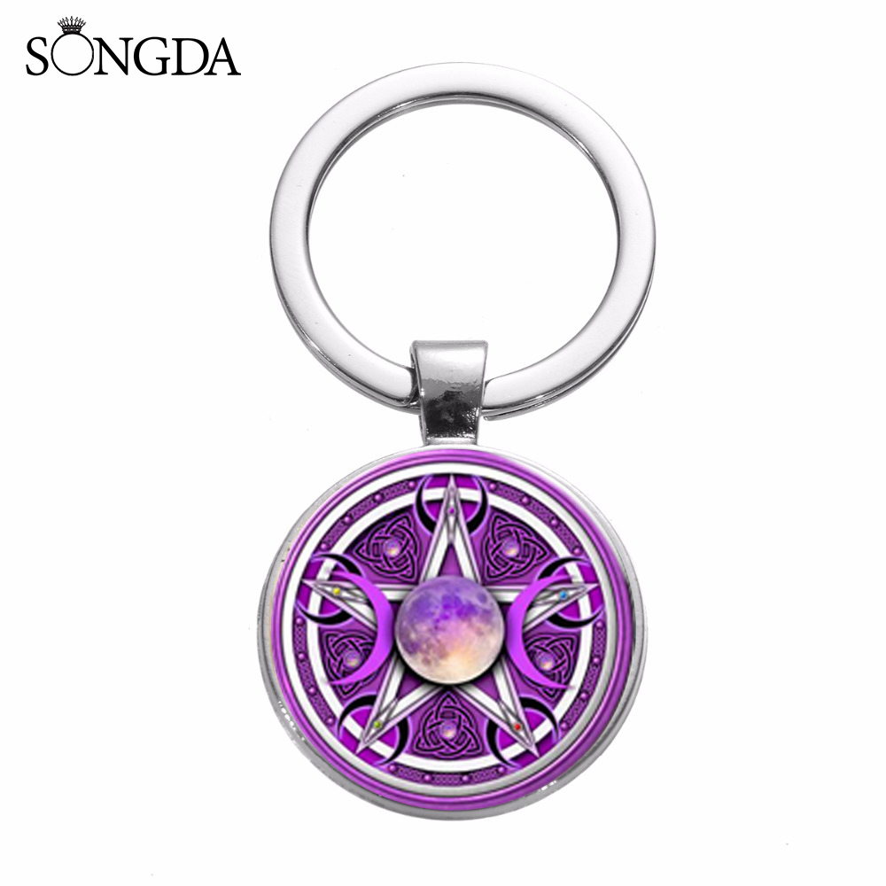 Triple Moon /& Pentacle Spinning Keyring wiccan wicca occult pentagram witch NEW