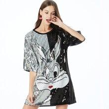 여성 스팽글 하프 슬리브 동물 프린트 루즈 피트 티셔츠 드레스 캐주얼 오버 사이즈 버니 2 톤 스팽글 셔츠 탑 클럽웨어