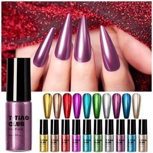 T-TIAO клубный зеркальный лак для ногтей металлик фиолетовый розовое золото металлический цвет хром долговечный лак для ногтей гель для ногте...