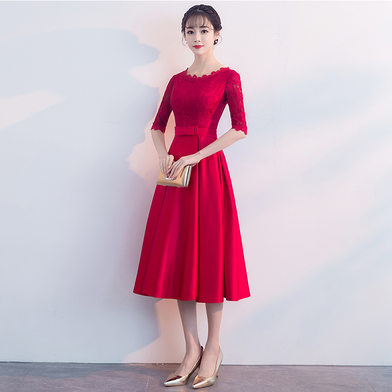 Dress Round Neck A-line cocktail dress with Bow Burgundy Satin Tea length Half sleeve  cocktail dress formal party dress