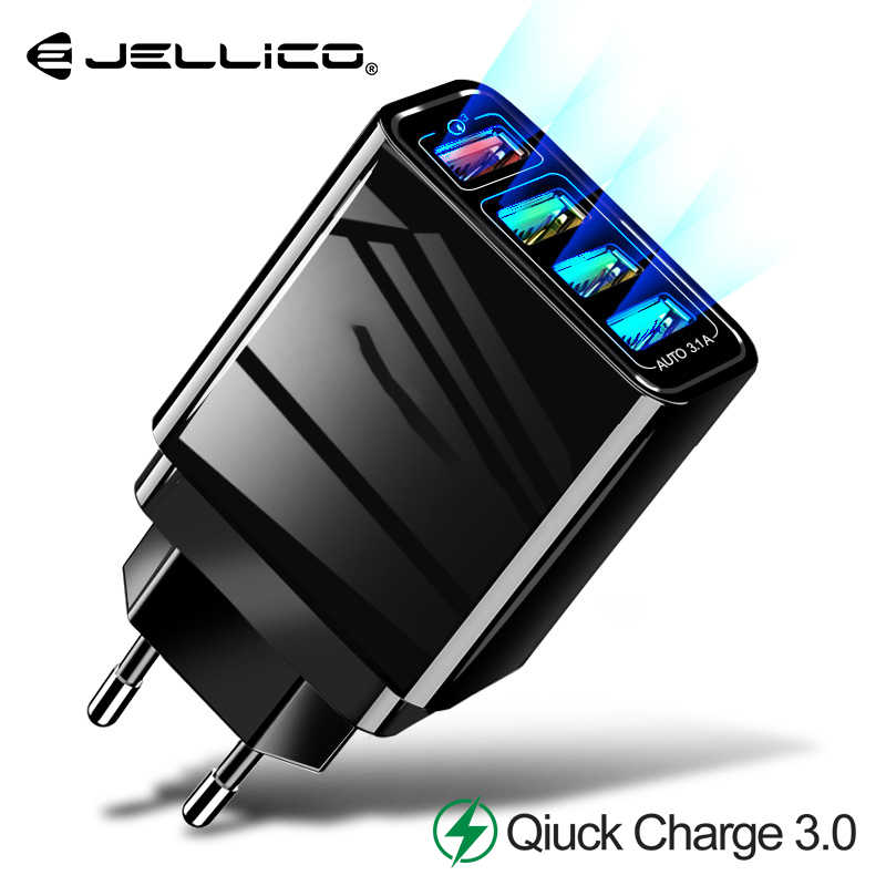Jellico 48W Quick Charger 3.0 USB Charger for Samsung iPhone 7 8 Huawei P20 Tablet QC 3.0 Fast Wall Charger US EU UK Plug Adapte