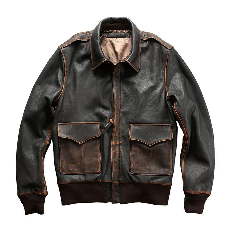 2212 Read Description! Air Force Flight A2 Pilot Leather Jacket Genuine Goat Leather Rider Jacket