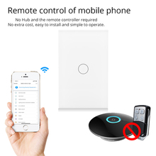 Wifi Smart Wall Touch US Switch 1 Gang Glass Panel APP Remote Control Works with Amazon Alexa Google Home No Hub Required qiachip us plug wifi smart switch 2 ch light wall switch glass panel touch screen app remote control work with amazon alexa z3