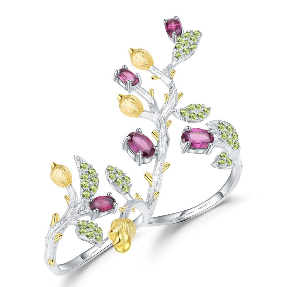 GEM'S BALLET Natural Rhodolite Garnet Branch Flower Tree Double Finger Rings 925 Sterling Silver Adjustable Ring For Women Party