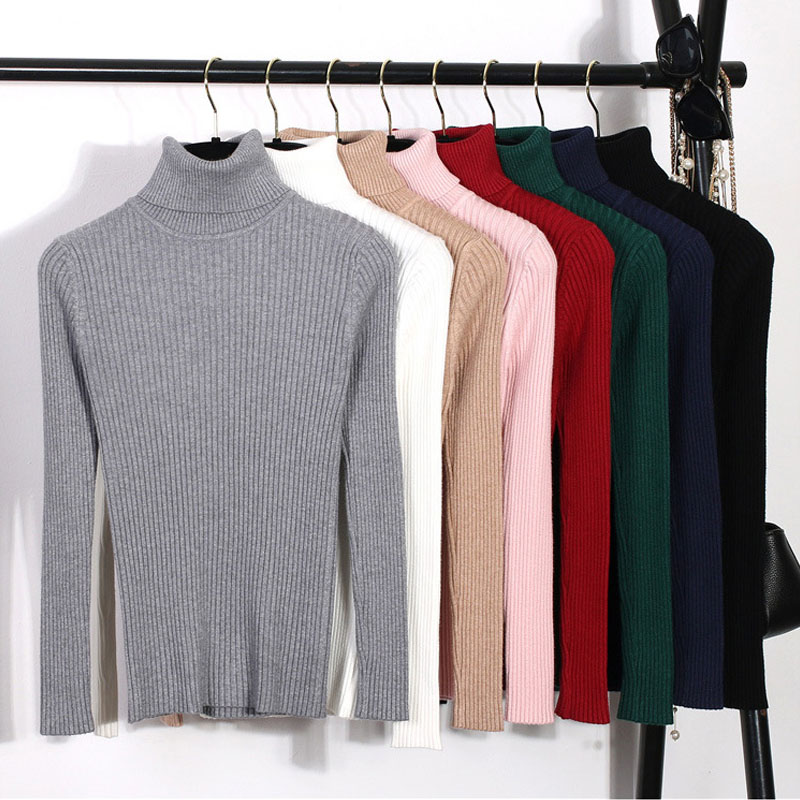 2019 High Elastic Autumn Winter Sweater Turtleneck Slim Jumper Warm Pull Women Knitted Ribbed Pullover Sweater Dropshipping