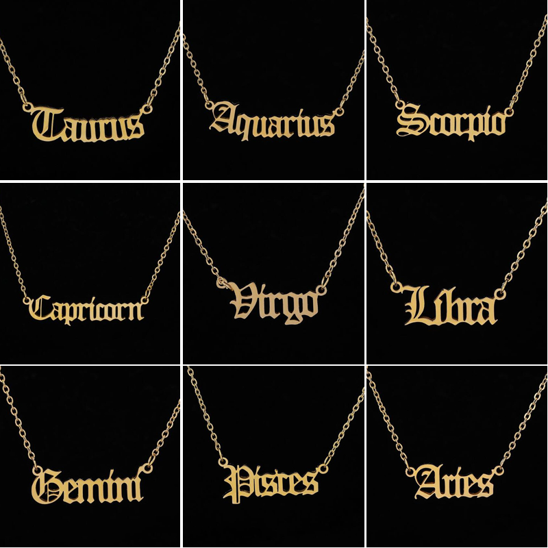 Personalize Jewelry Leo Zodiac Sign Astrology Necklace Star Sign 12 Constellation Old English Letter Aries Necklaces Gift(China)