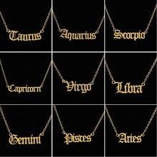 Bijoux personnalisés au signe du zodiaque, collier astrologie, étoile, des 12 constellations, en lettre anglaise ancienne, bélier, léo, à offrir en cadeau
