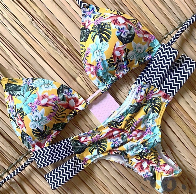 Print Swimwear String Mini Swimsuit 2020 Brazilian Bikini New Lace-up Beach wear Sexy Halter Swimsuit Women Thong Micro Bikini 3