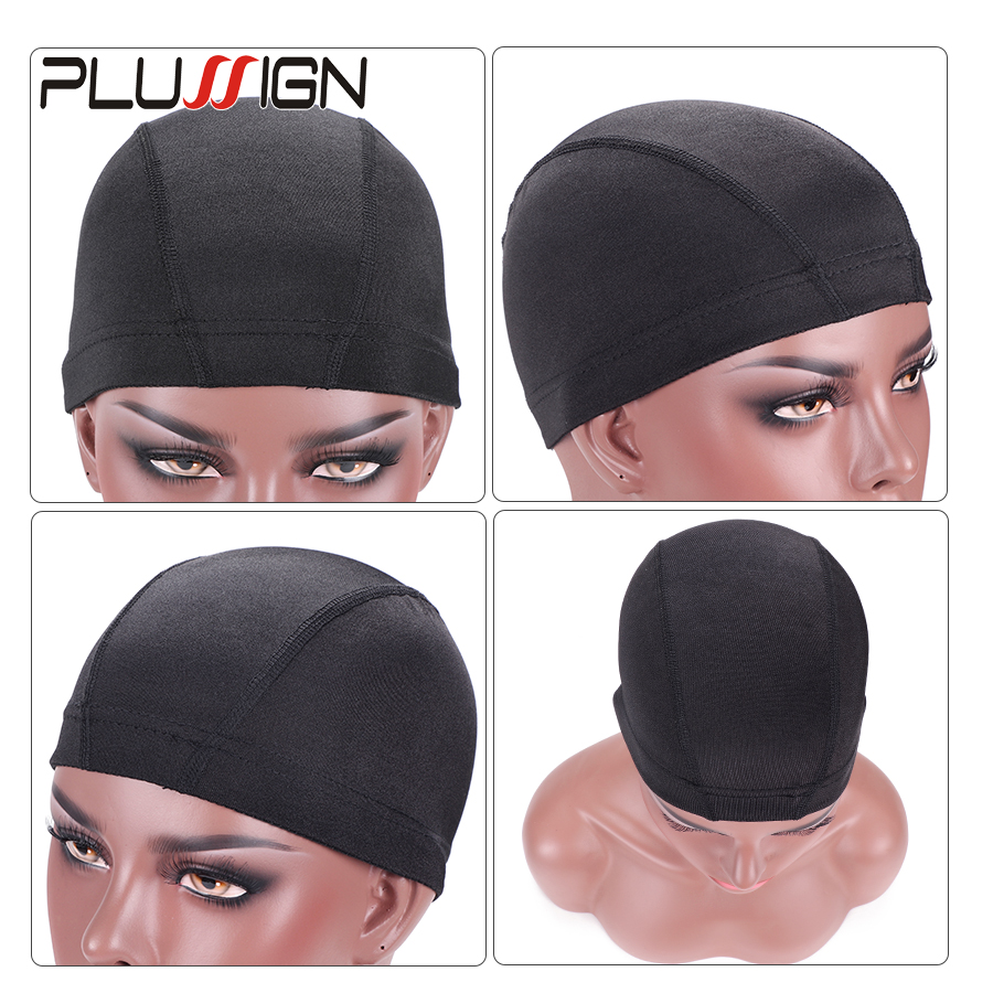 Image 5 - Plussign 12 Pcs/Lot Wholesale Spandex Dome Cap For Wig Making Elastic Mesh Hairnets Weaving Cap Average Size Strech Snood NylonHairnets   -