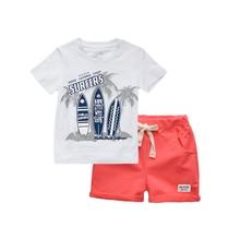 BINIDUCKLING Boys Children Clothing Summer O-Neck Print Short Sleeve T-Shirt Pants Beach Kid Boys Cotton Cartoon Clothes Sets