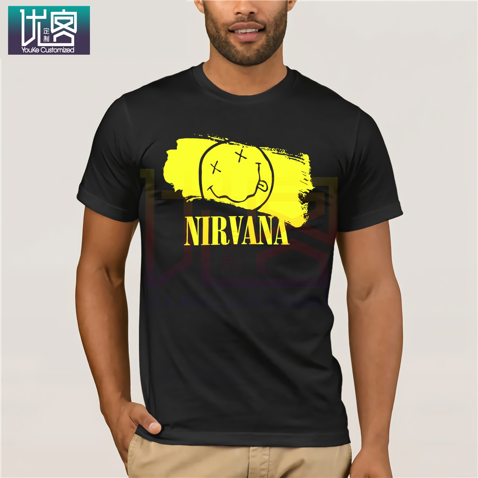Nirvana Floral Smiley Face Image Black T Shirt New Official Soft