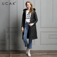 Ucak новый элегантный женский зимний длинный пуховик на 90%