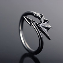 Estilo punk titânio bronze koakuma pequeno diabo dragão gótico mau vampiro anéis aberto anel festa de halloween jóias presente