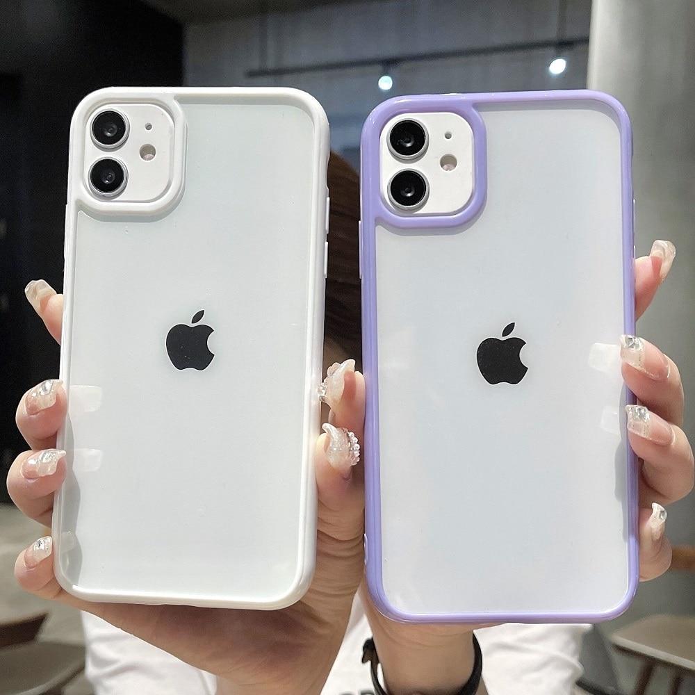 Custodia per telefono trasparente antiurto per paraurti colorato per iPhone 12 Mini 11 Pro Max XR X XS Max 8 7 6S Plus SE 2020 Cover posteriore trasparente 1