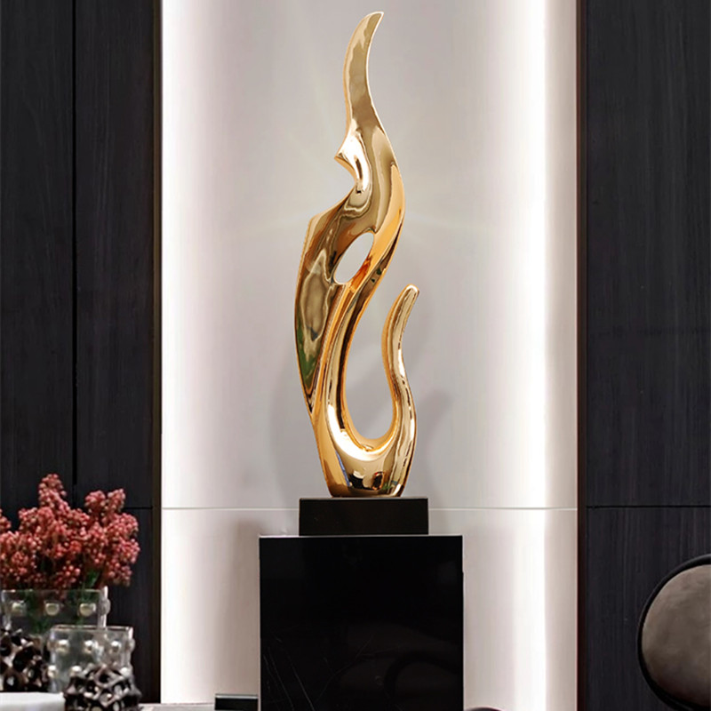 Gold Silver Resin Desktop Decor Abstract Sculpture Living Room Tv Cabinet Furnishings Hotel Lobby Art Electroplating Orn R3969