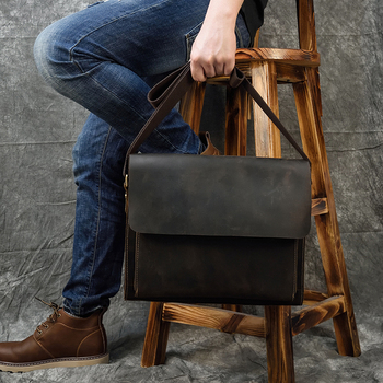 MAHEU Genuine Leather Men Messenger Bags Schoolbag for Teenage Boys Casual Crossbody Bag Male A4 Shoulder Bag Formal Sling Bag