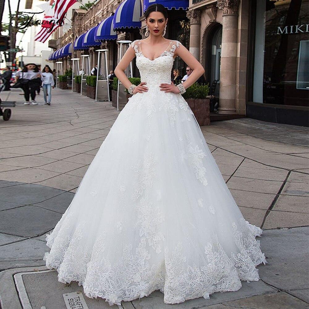 Traugel Luxury Scoop A Line Lace Wedding Dresses Chic Applique Beading Sleeveess Bride Dress Chapel Train Bridal Gown Plus Size