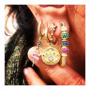 Image 4 - Cuenta de disco de cz colorida llena de oro, pendiente de imperdible con cuentas móviles, joyería elegante para mujer