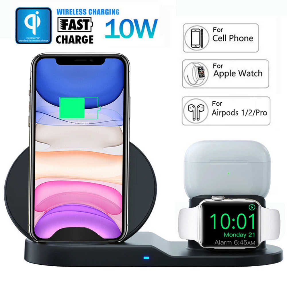 Dcae Qi Wireless Charger untuk iPhone X Max XR X 8 11 Apple Watch 2 3 4 5 Airpods 10W Cepat Pengisian untuk Samsung S10 S9 Catatan 10 9