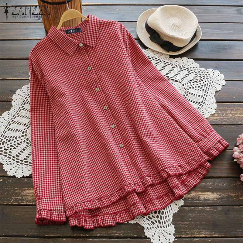 2019 ZANZEA Women Plaid Check Blouses Office Ladies Work Cotton Linen Tunic Tops Casual Loose Ruffles Hem Buttons Down Blusas