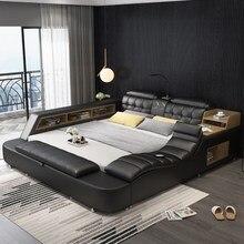 многофункциональный массаж кровать каркас современный Nordic camas натуральная кожа ultimate кровать с хранилищем LED свет Bluetooth динамик сейф