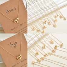 Elegant Star Zodiac Sign 12 Constellation Necklaces Pendants Charm Gold Chain Choker Necklaces for Women Jewelry Dropship(China)