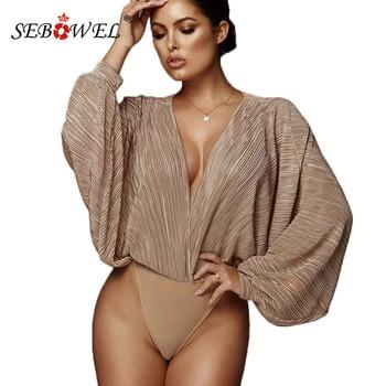 SEBOWEL, модное свободное Плиссированное боди с глубоким v-образным вырезом и длинным рукавом летучая мышь для женщин, весна-осень, Женское боди...