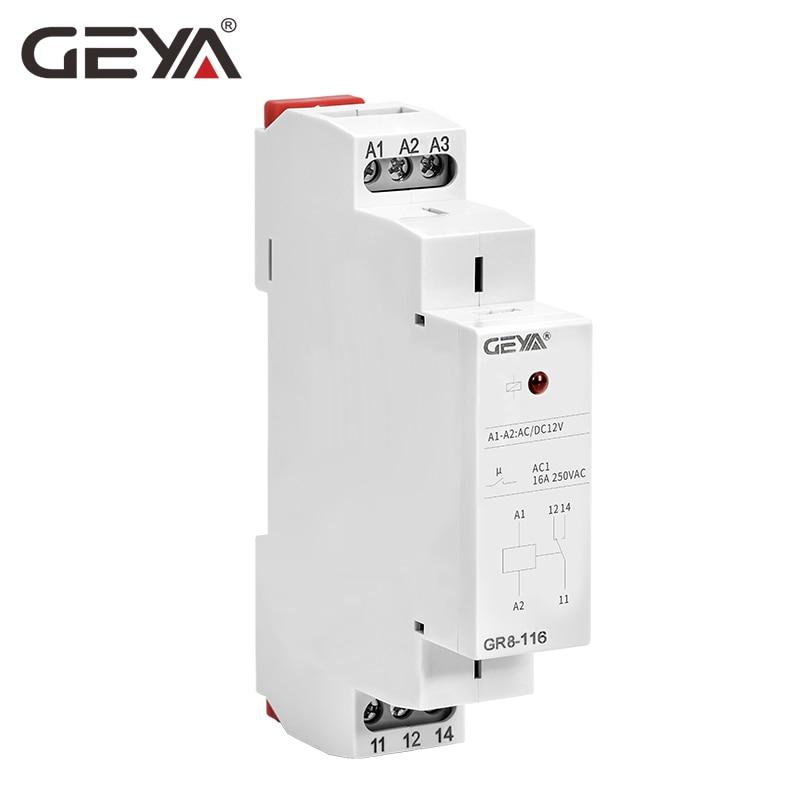 GEYA GR8-116 промежуточное реле вспомогательное реле AC DC 12V 24V 48V 110V 230V реле 16A ROHS