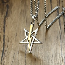 Vnox collar Vintage para hombre con Iglesia de Satán Sigil de Anton LaVey collar masculino cadena libre 24