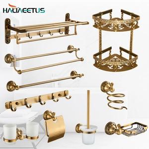 Brass Bathroom Accessories Set Antique,Bathroom Shelves,Towel Bar,Toilet Paper Holder ,Soap Holder,Toilet Brush Holder(China)