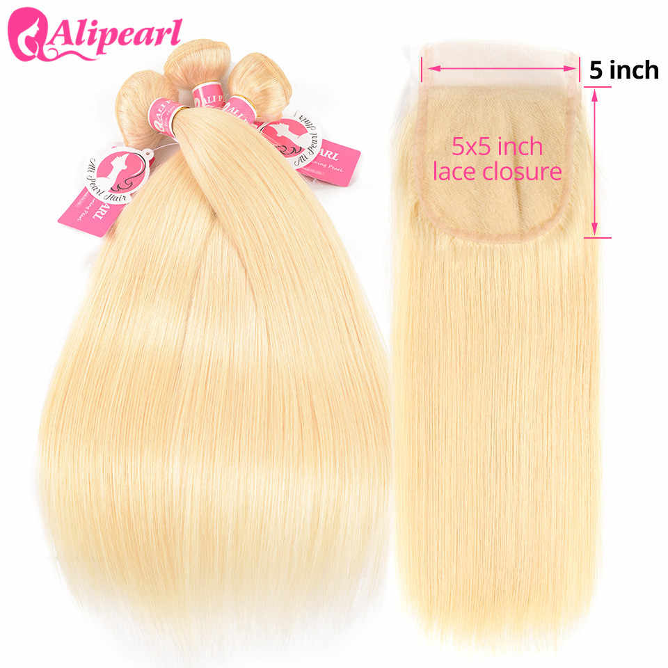 AliPearl Hair 613 Blonde Bundles With Closure 5x5 Free Part Brazilian Hair Weave 3 Bundles With Closure Remy Hair Extension